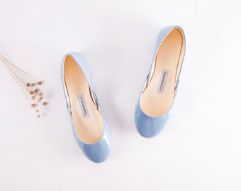 Blue Patent Leather Ballet Flats | Ballerina Shoes | Something Blue | Chic Unique | Urban Ballerinas | Porcelain Blue......made to order