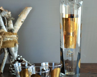 Vintage Cera Black & Gold Coin Glass Martini Pitcher