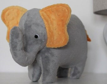 Stuffed Elephant Toy - Gray and Golden Yellow Minky Plush Elephant - Elephant Toy -Nursery Decor - Baby Christmas Gift - Kids Christmas Gift
