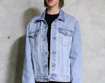 Calvin Klein jacket, jean jacket, denim jacket, 90s vintage light wash button front jacket, 1990s 90s, unisex large l