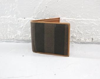 Fendi Wallet, 80s 90s coated canvas Pequin Stripes tan leather, bi-fold, bi fold, mens wallet