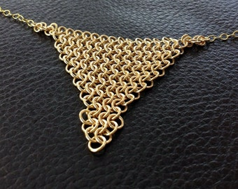 14k Gold filled chainmail necklace,handcrafted gold mesh, gold bib necklace,gold statment necklace,14kt gold fill triangle europian 4 in 1,