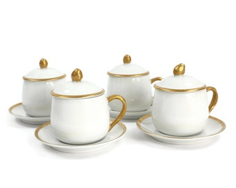 Pots de Creme - Dessert Set, SET of 4 Cups, Lids and Saucers, Vintage Custard Cups, White with Gold, Fitz and Floyd, c.1980s