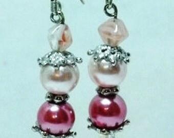 Burgundy and White Peal Earrings