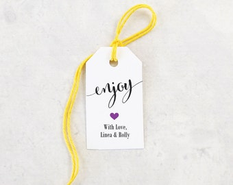 Enjoy Favor Tag, Personalized Treat Tags, Wedding Favor Tags, Bridal Shower, Gift Tag, Party Favor, Edible Favor - Set of 25 (SMGT-CAN)
