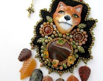 Beaded Necklace Woodland Red Fox Bead Embroidered Jewelry Boho Cocktail Pendants Fashion Statement Piece Bohemian Native American Pendant