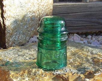 Vintage Insulator AT&T Co X2 Emerald Green Glass Insulator 1920s