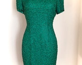 Holiday Green Beaded Silk Wiggle Dress/ AJ Bari evening dress / Christmas Party Dress/ Petite small 2/ Vintage 90's dress