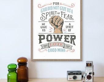 2 Timothy 1:7 Bible Verse Wall Art, Scripture Print, Fearless, No Fear, Christian Wall Art, Spiritual Art,  Bible Verse Print, Hand Drawn