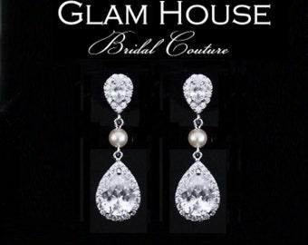 Zirconia earrings, pearl earrings,Bridal Earrings,Bridal jewelry, Cubic zirconia,bridesmaid earrings,tear drop earrings,dangle earrings