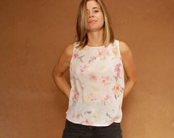 90s sheer floral TWIN PEAKS era PINK tank top slouchy oversize shirt blouse