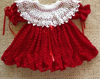 Crocheted Red Girl's Dress with Matching Headband and separate White Collar - 6 to 9 Months - READY TO SHIP