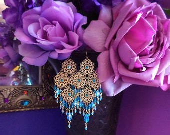 """Gold Filigree & Crystal Chandelier Earrings, 5"""" Long, Turquoise Blue, Aquamarine, Peacock Teal, Red, Green, Color Choices!, Clip-On Option"""