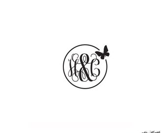 Personalized Custom Rubber Stamp or Self Inking - Stationery - Butterfly Nature Monogram