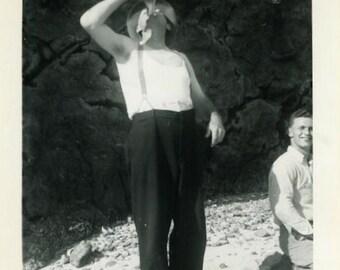 "Vintage Photo ""One Thirsty Boy"" Drinking Bottle Snapshot Antique Photo Old Black & White Photograph Found Paper Ephemera Vernacular - 157"
