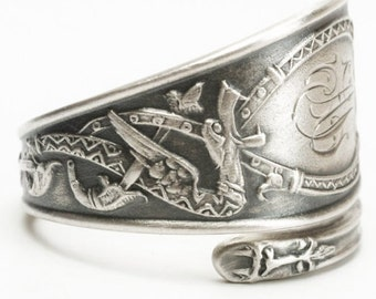 Nordic Design Dragon Ring, 830 Sterling Silver Spoon Ring, Norse Ring, Tribal Ring, Dragon Jewelry, Unique Silver Ring, Adjustable Ring 6000