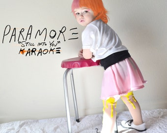 Paramore Toddler Costume Hayley Williams Still Into You paint drip tights pink skirt Dweeb crop top 3T