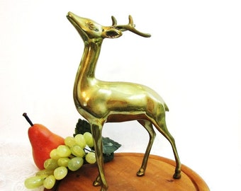 "Brass Deer Statue, Vintage 10"" Large Standing Brass Buck Figurine / Statue, Woodland Fall Mantel Decor, Holiday Golden Brass, Lodge Decor"