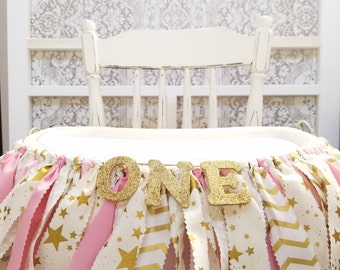 Twinkle Twinkle Little Star First Birthday - Girl's Birthday Party - Rag Banner - Photography Prop - First Birthday - Golden Birthday