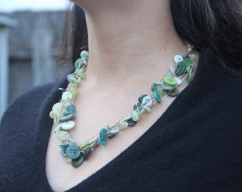 Woven necklace // multi strand // vintage buttons // chunky necklace // forest green // eco gifts // gifts for her