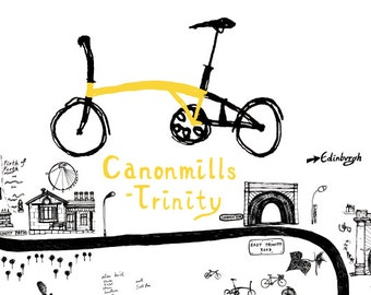 Edinburgh City Cycle route Map - 'Canonmills - Trinity' - BROMPTON- Large Poster 60 x 80cm