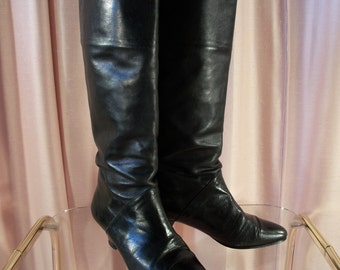 Black Leather Riding Boots, sz 5