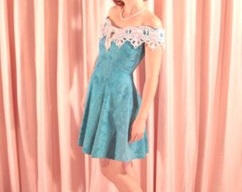 Teal Gunne Sax Brocade Mini Party Dress