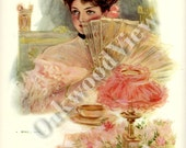 Girl for a Supper Print by Henry Hutt, Beautiful Woman with Fan, Flowers, Antique 1910 Edwardian Color 9x11 Bookplate Art, FREE SHIPPING