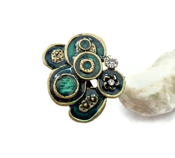 boho ring big boho ring antique gold ring emerald ring