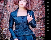 Victorian Tailored Jacket- Black Brocade, Button Up, Stand-Up Collar, Corset Tie Back