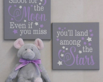Shoot for the Moon Even if you Miss You'll Land Among the Stars - Signs - Baby Girl Nursery Purple Gray Motivational Sign, Child's Room Gift
