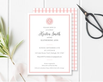 Pink and White Monogrammed Invitation - 5x7 - Gingham and Striped