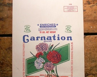 Vintage Carnation Paper Flour Sack with Blue, Red and Green Graphics - Great Retro Kitchen Decor!