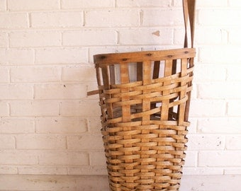 Vintage Rolling Market Basket with Red Wheels - French Country Decor!