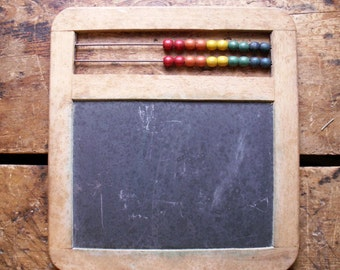 Vintage Abacus Chalkboard with Rainbow Wood Beads - Great Kids Room Decor!