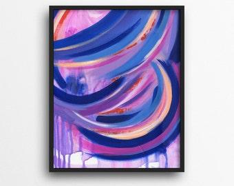 Vibrant Wall Art, Purple Room Decor, Pink Room Decor, Decor for Girls, Dorm Decor, Art Print, Canvas Print, 16 x 20 Wall Art, Bright Decor