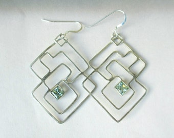Labyrinth Earrings, mint green garnet earrings, square earrings, silver earrings, sterling wire large Earrings,  Avant Garde jewelry