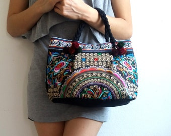 Hmong Old Vintage Style Ethnic Thai Boho Medium Size Bag