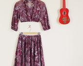 Altered Purple Floral Sheer 90s Print Twin Set Crop Long Sleeve Top and Matching Skirt Midi Skirt Festival Summer