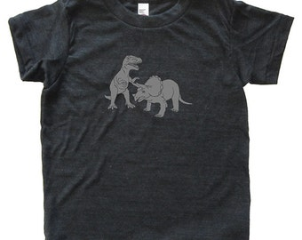 Dinosaur Pair Tshirt - Kids Dino T Rex Triceratops Shirt - Tee - Youth Boy Shirt / Super Soft Kids Tee Sizes 2T 4T 6 8 10 12 - Heather Black