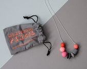 Handmade Neon Polymer Necklace on Silver Plate Snake Chain  (G)