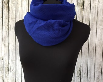 Bright blue sheer lightweight scarf