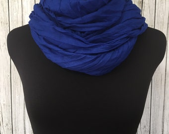 Lightweight crinkle scarf in blueberry summer scarf  lightweight scarf blue scarf light scarf fall scarf spring scarf