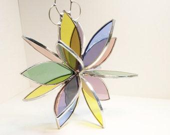 Stained glass 3D Flower Twirl pastels garden art outdoor sculpture suncatcher home decor