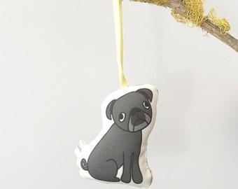 Plush Black Pug Ornament