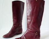 1980s vintage boots / Etienne Aigner oxblood leather riding boots / size 7 size 37.5