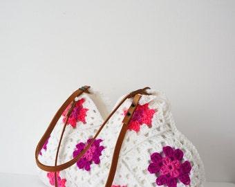 Women handbag.Hand Crochet bag. Crochet handbag. Women bag. Leather Bag.Crochet Purse.Handmade handbag White handbag