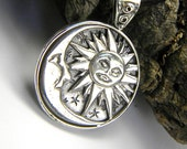 Sun and moon silver pendant, moon and sun sterling silver necklace in black leather, celestial jewelry, big medallion sun moon jewelry