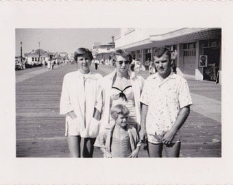 Atlantic City Boardwalk- 1950s Vintage Photograph- Family in Swimsuits- 50s Fashion- Found Photo- Bathing Suit Snapshot- Paper Ephemera