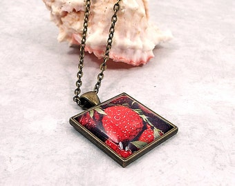Strawberry Pendant, Strawberries Necklace, Antiqued Brass, Fruit Jewelry, Summer Jewelry, Hippie Boho, Womens Gift, Stocking Stuffer